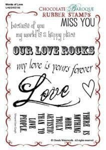Chocolate Baroque Words of Love Rubber Stamp Sheet